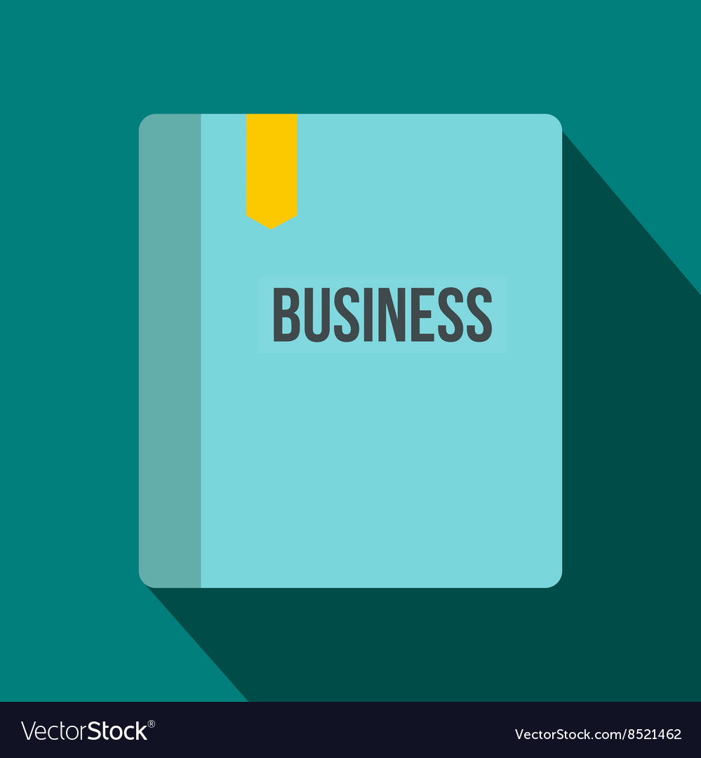 Business book with bookmark icon flat style