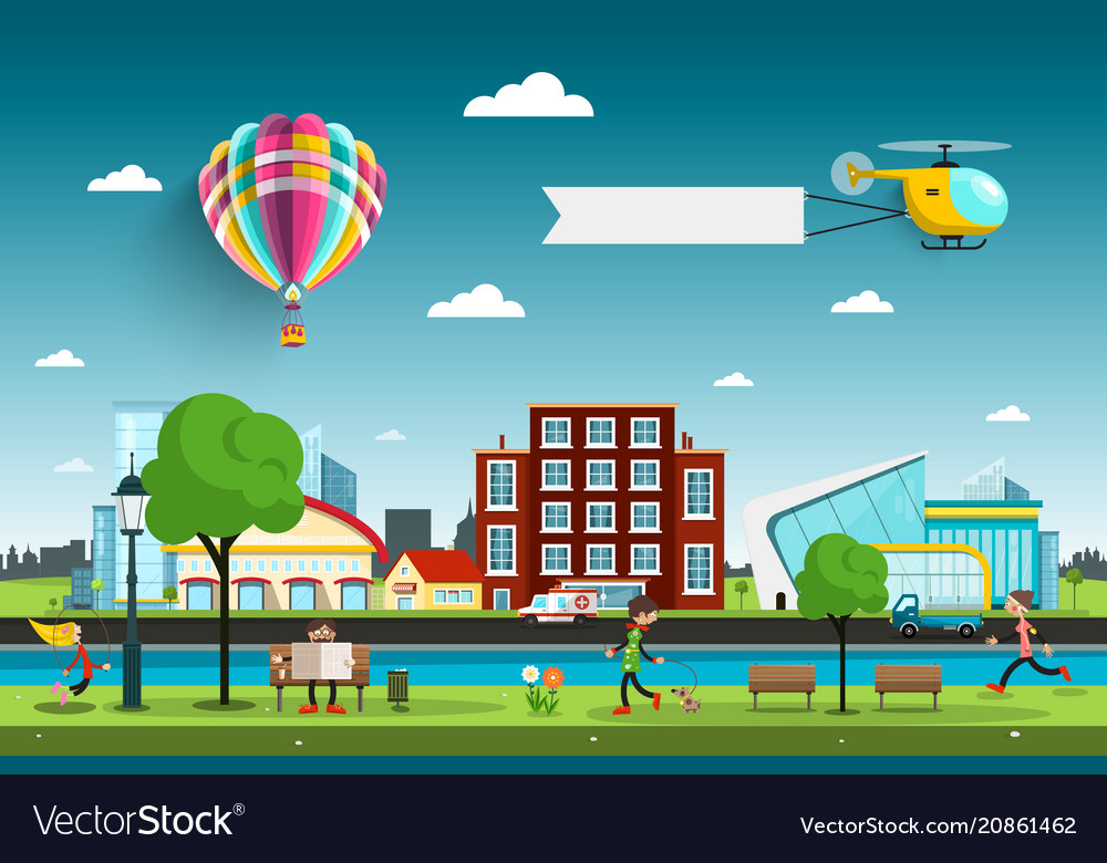 City with people and hot air balloon