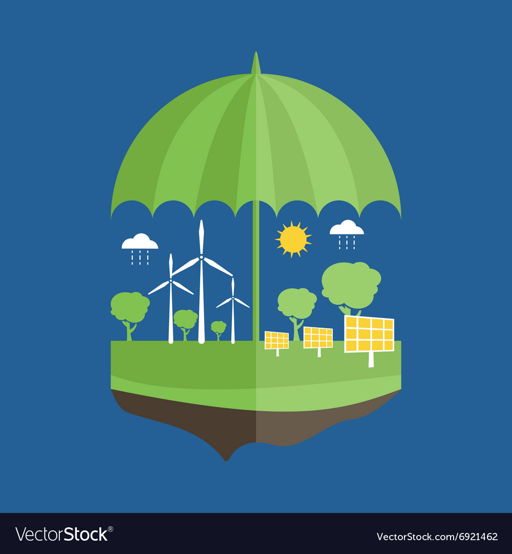 Concept of umbrella and earth with icons of vector image