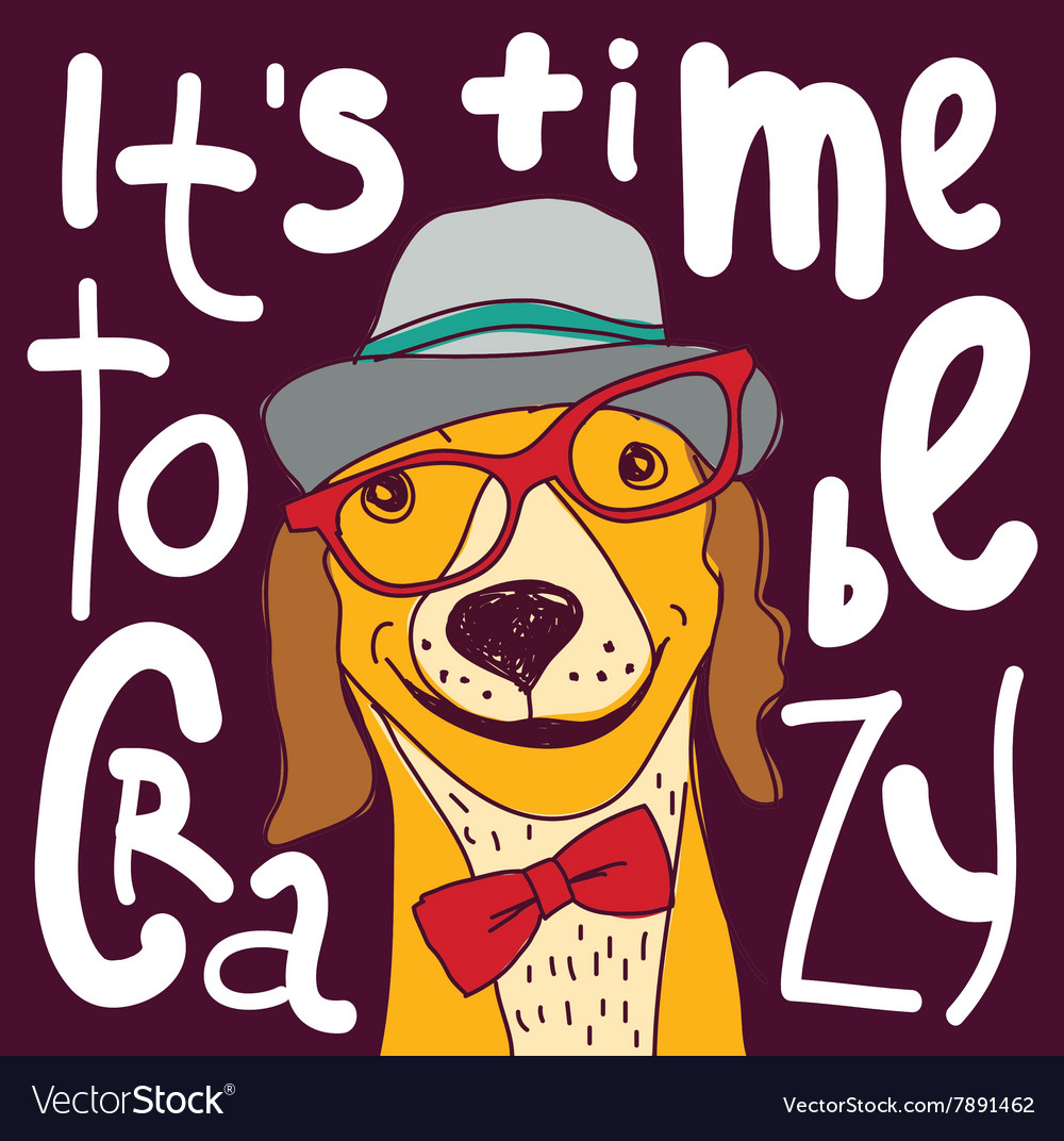 Crazy time hipster dog color poster sign vector image
