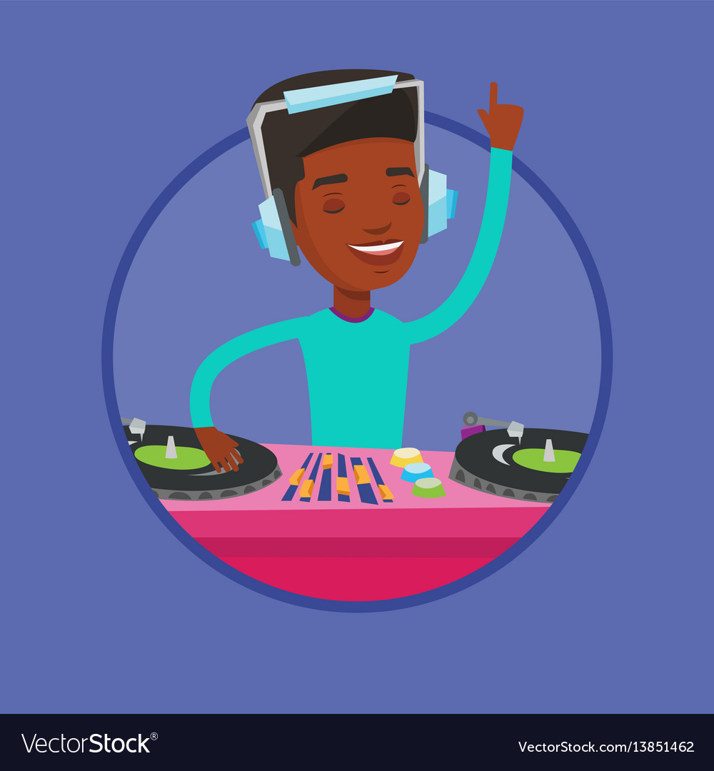 Dj mixing music on turntables