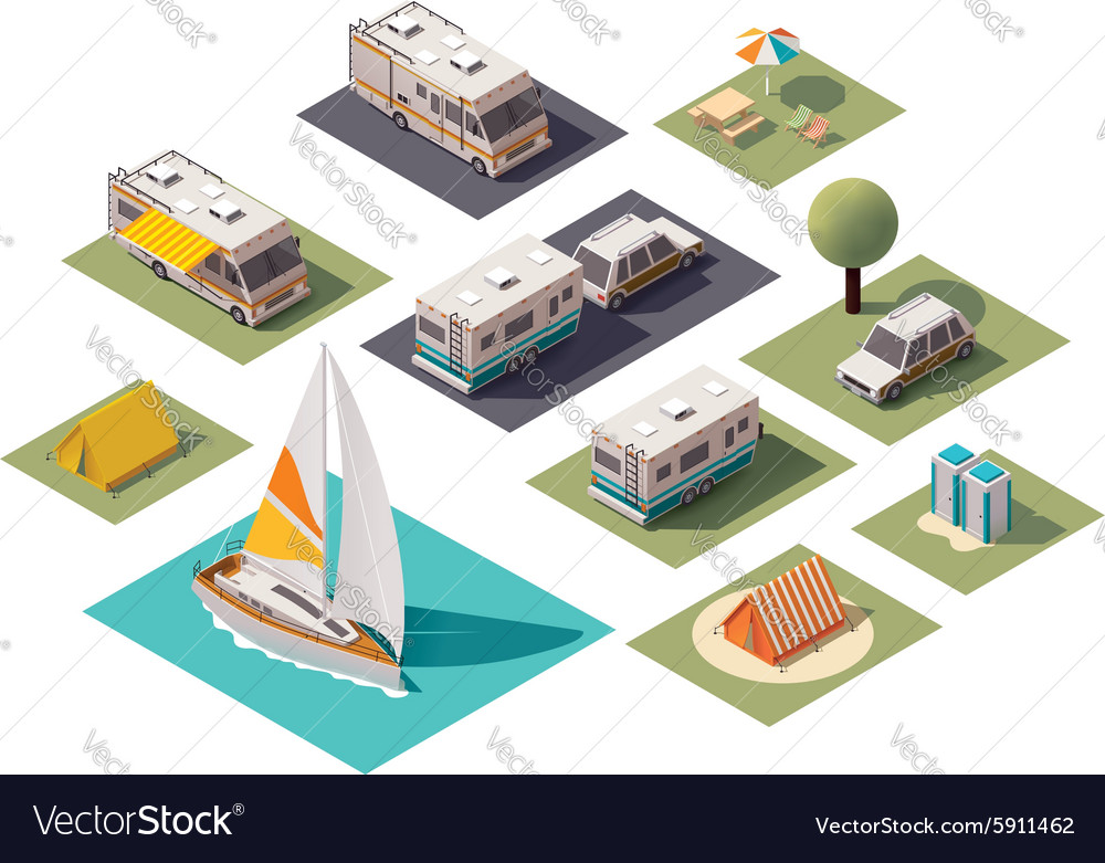 Isometric camping icons