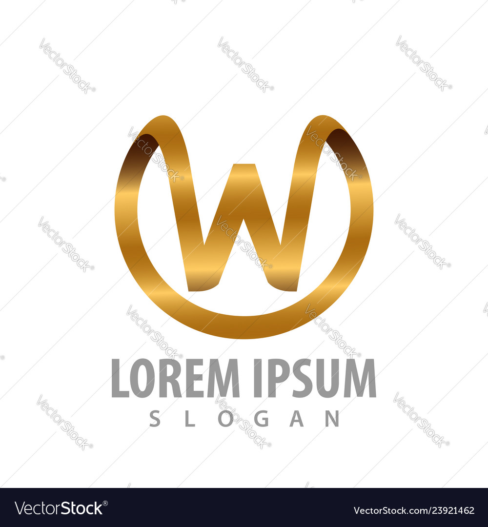 Luxury circle initial letter w logo concept