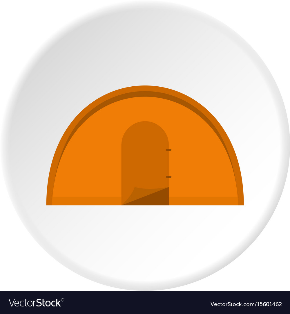 Orange tourist tent icon circle