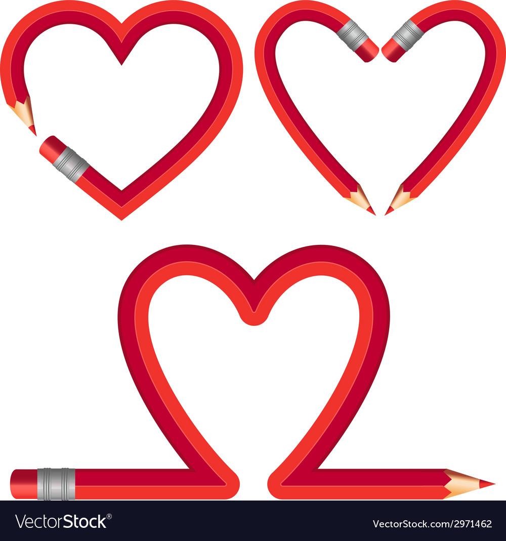 Red pencil hearts set vector image
