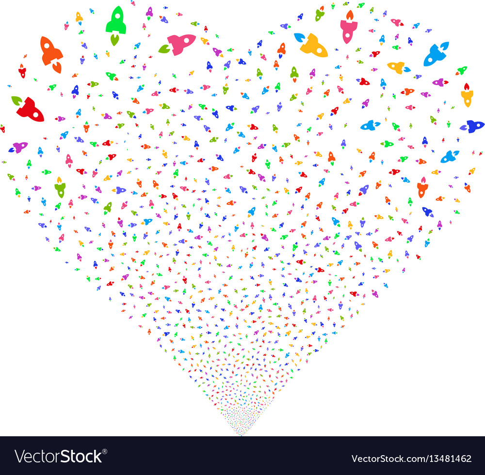 Space rocket fireworks heart vector image