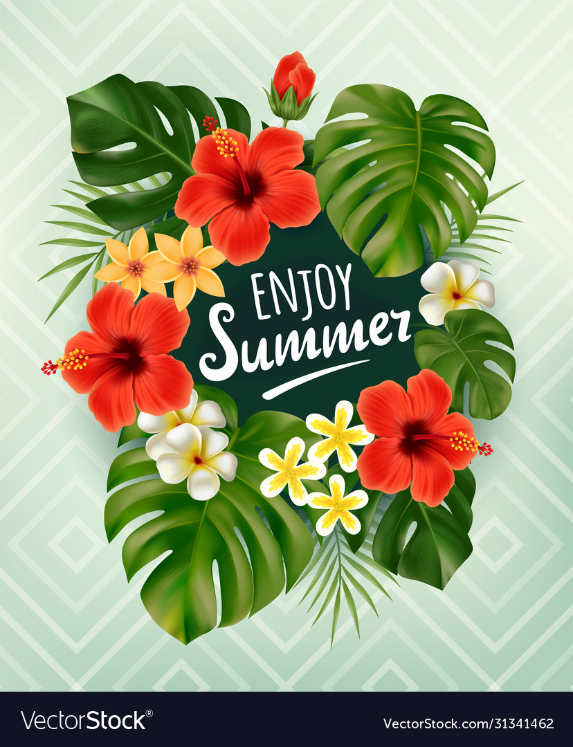Summer poster with tropical palm leaf and flowers