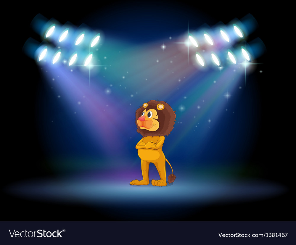A lion standing in the middle of the stage vector image