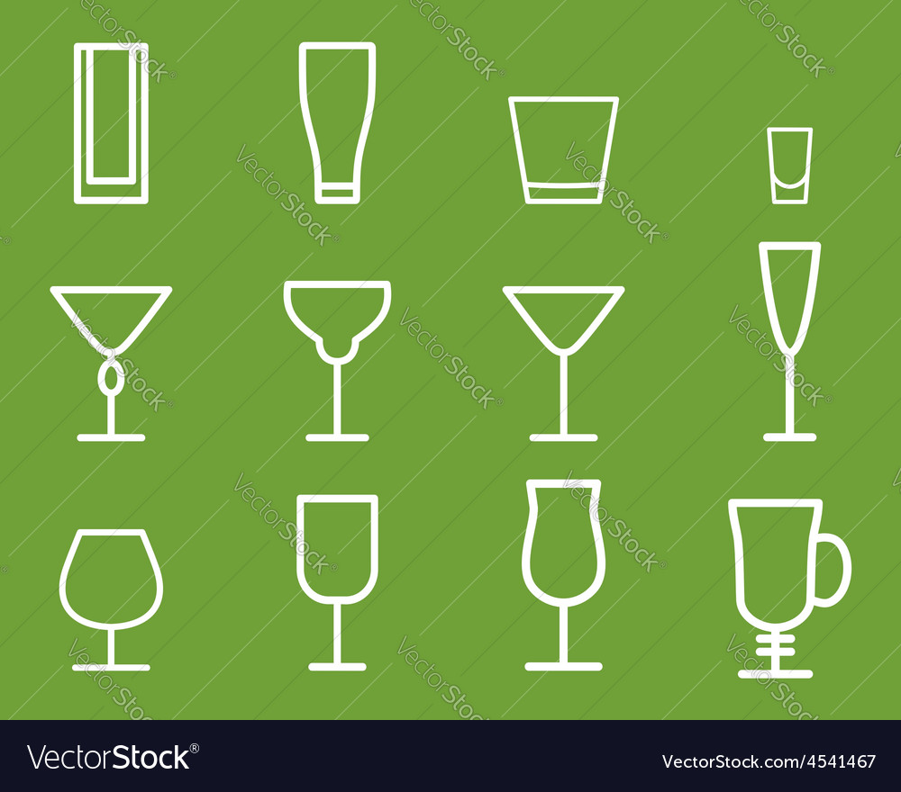 Beverage thin line symbol icon Cocktails vector image