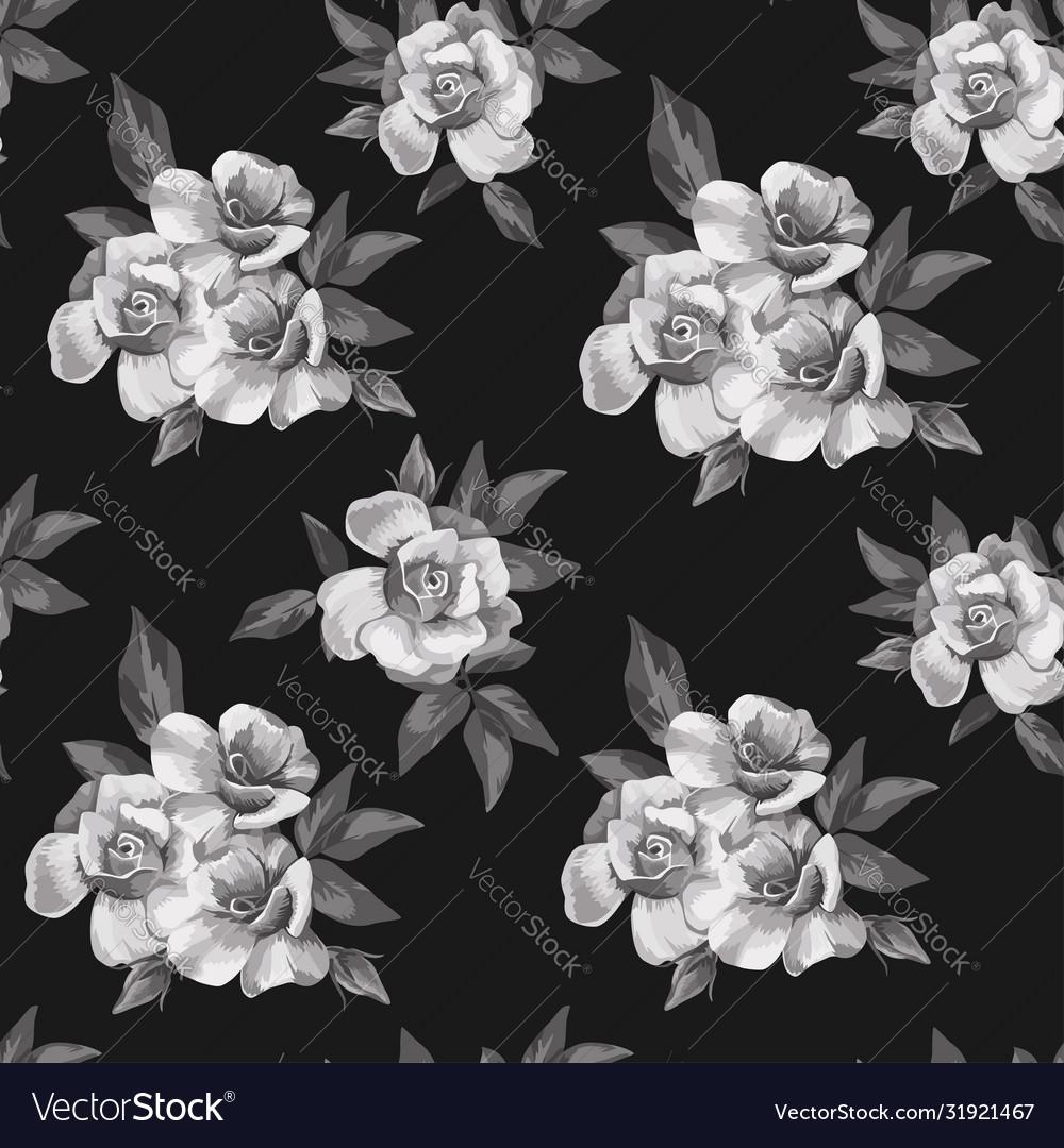 Black white roses seamless pattern background