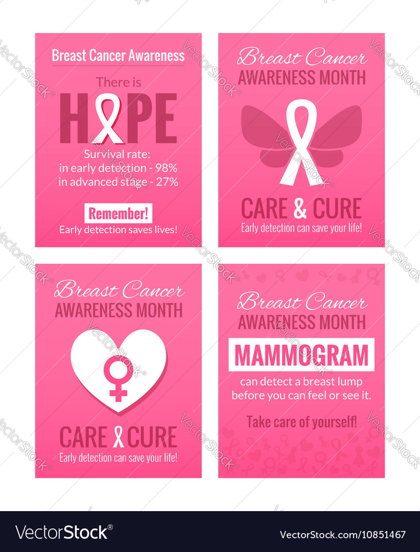 breast cancer awareness posters set royalty free vector