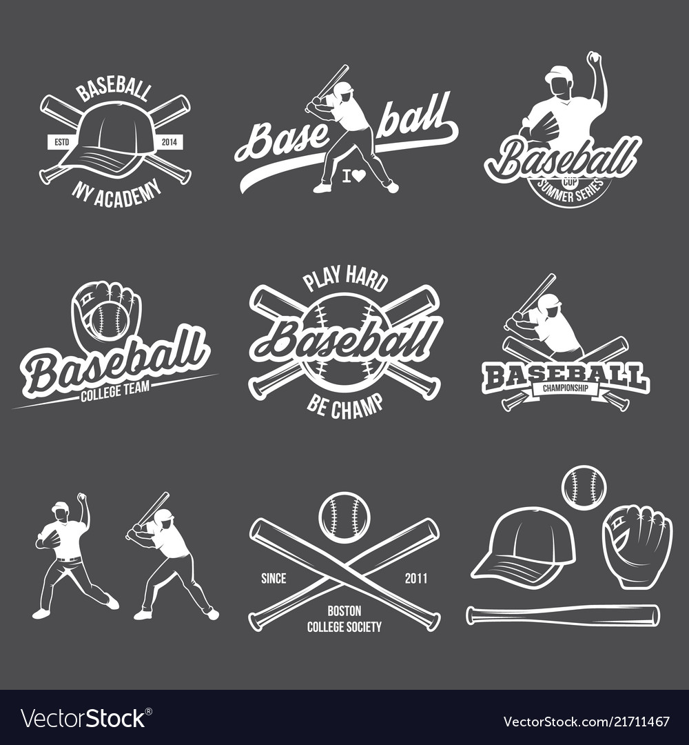 Collection of baseball logo and insignias