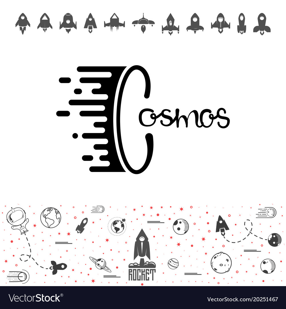 Cosmos and rocket science and shuttleplanets in vector image