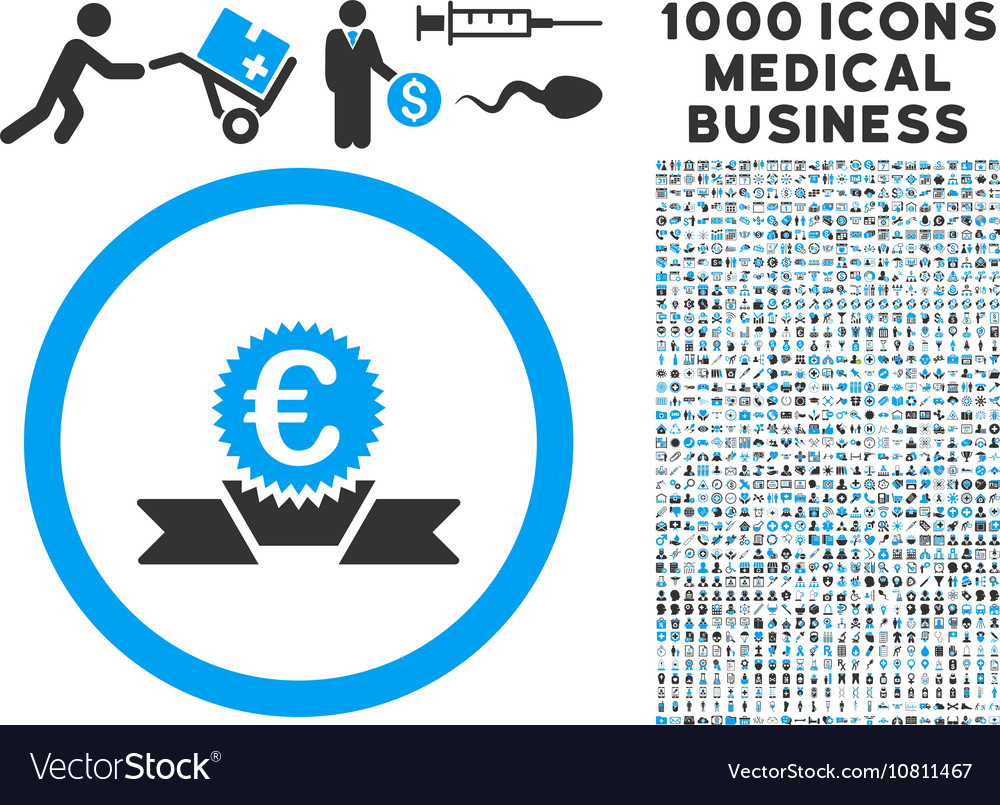 Euro Award Ribbon Icon with 1000 Medical Business vector image