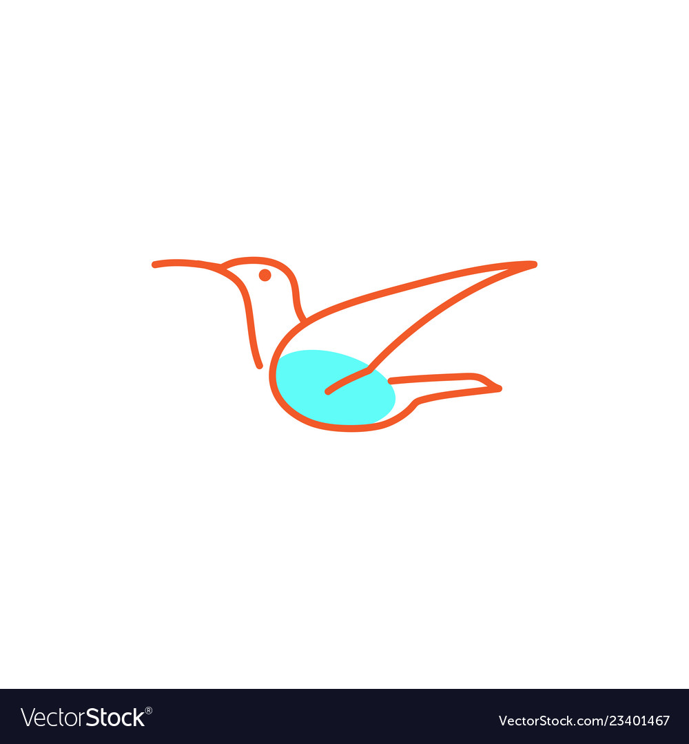 Flying bird line art creative logo template