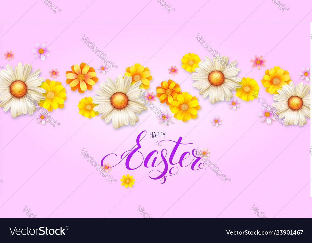 Happy easter day 3d realistic flowers buds