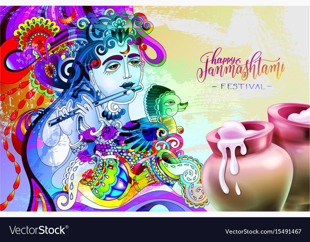 Happy janmashtami indian festival design vector image
