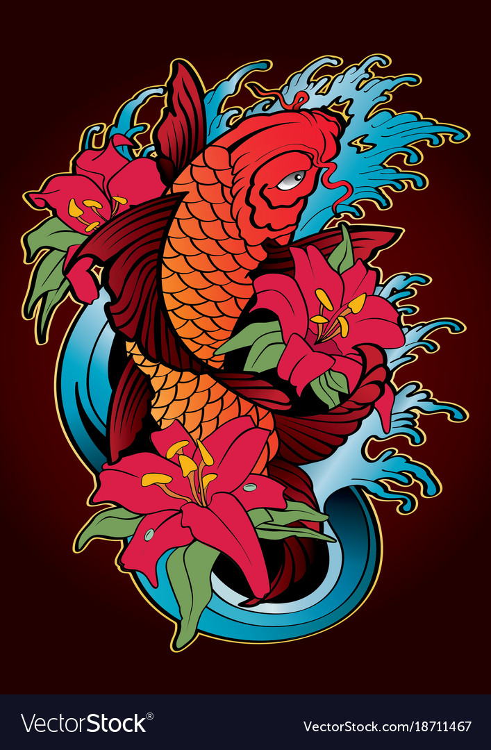 Koi Fish Tattoo Japanese Style Color Royalty Free Vector