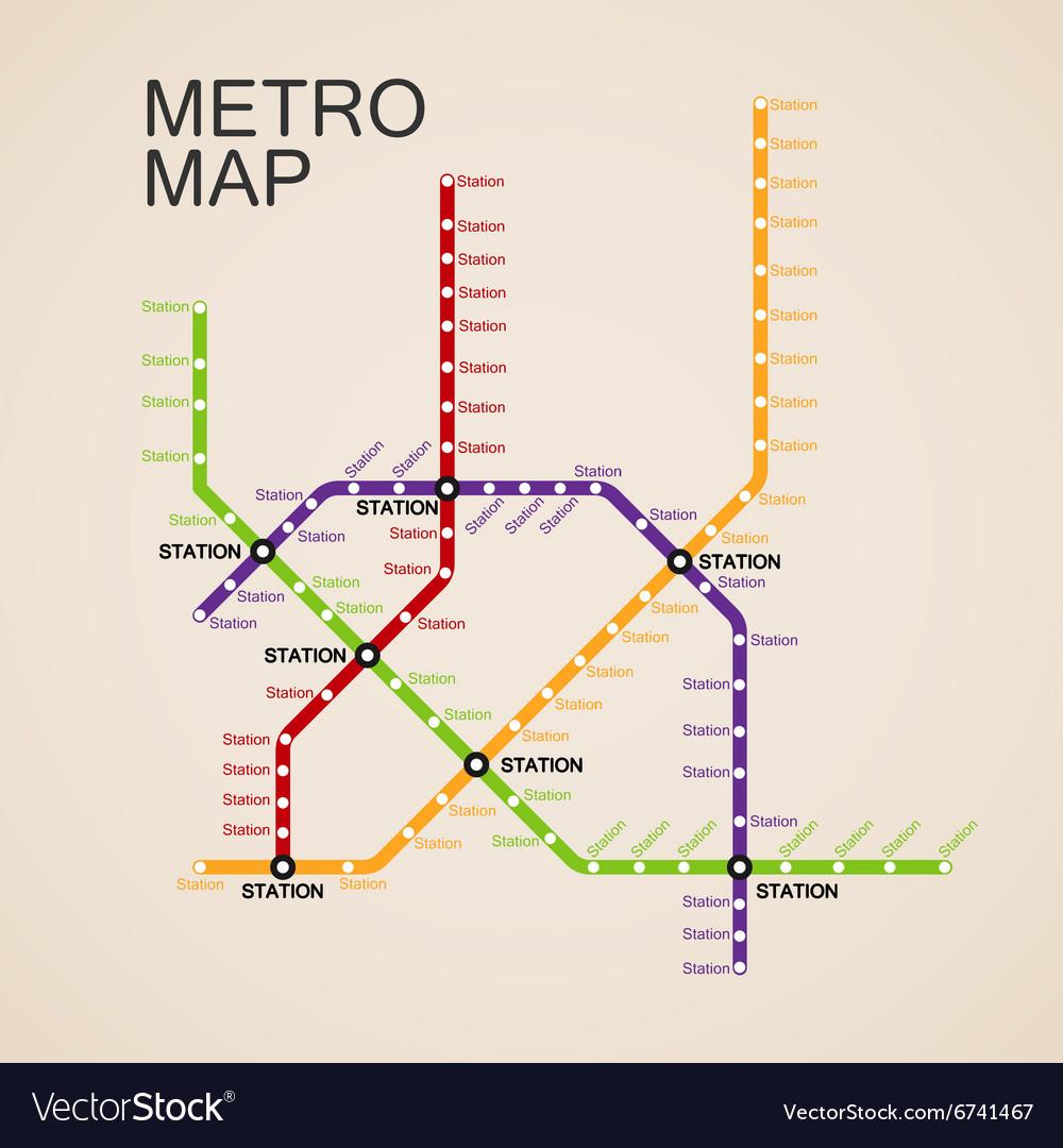 Subway Map Design.Metro Or Subway Map Design Royalty Free Vector Image
