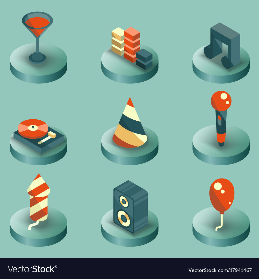 Party color isometric icons set vector image