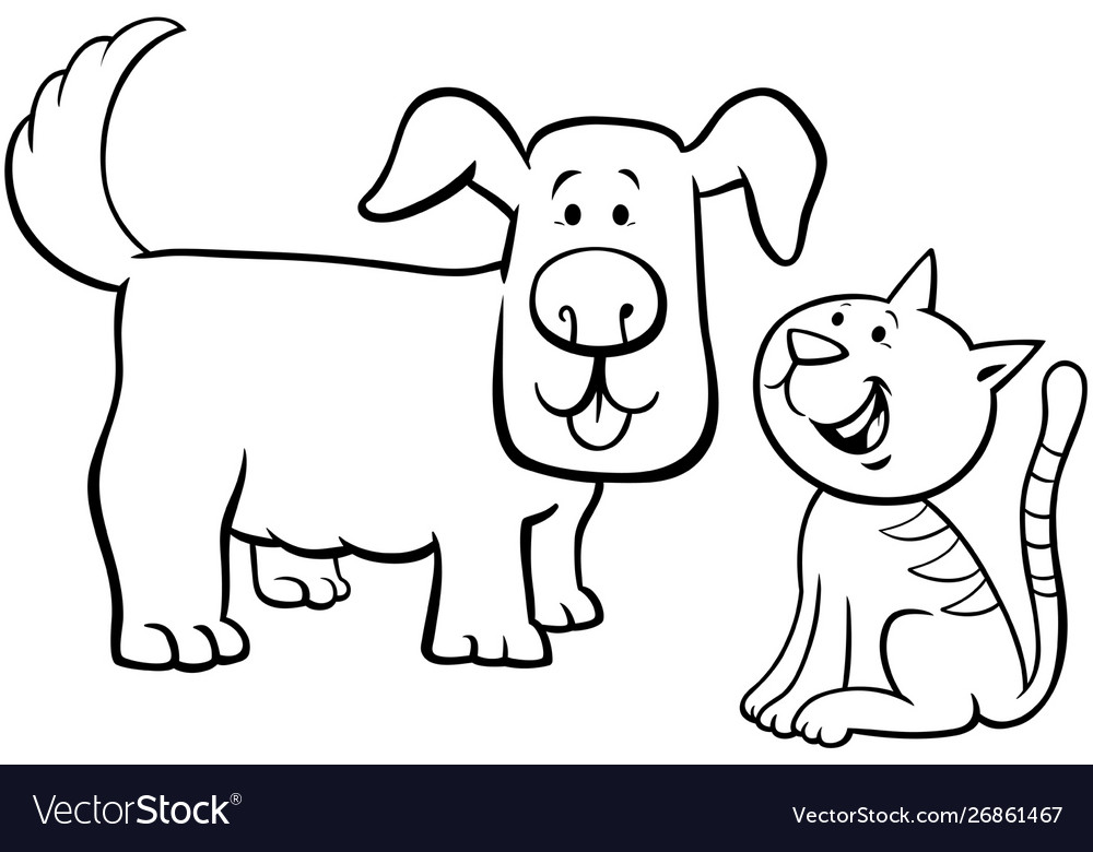 - Puppy And Kitten Cartoon Characters Color Book Vector Image