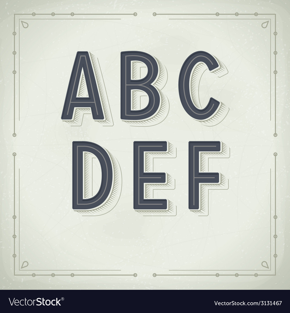 Retro Font from A to F Vintage Typography vector image