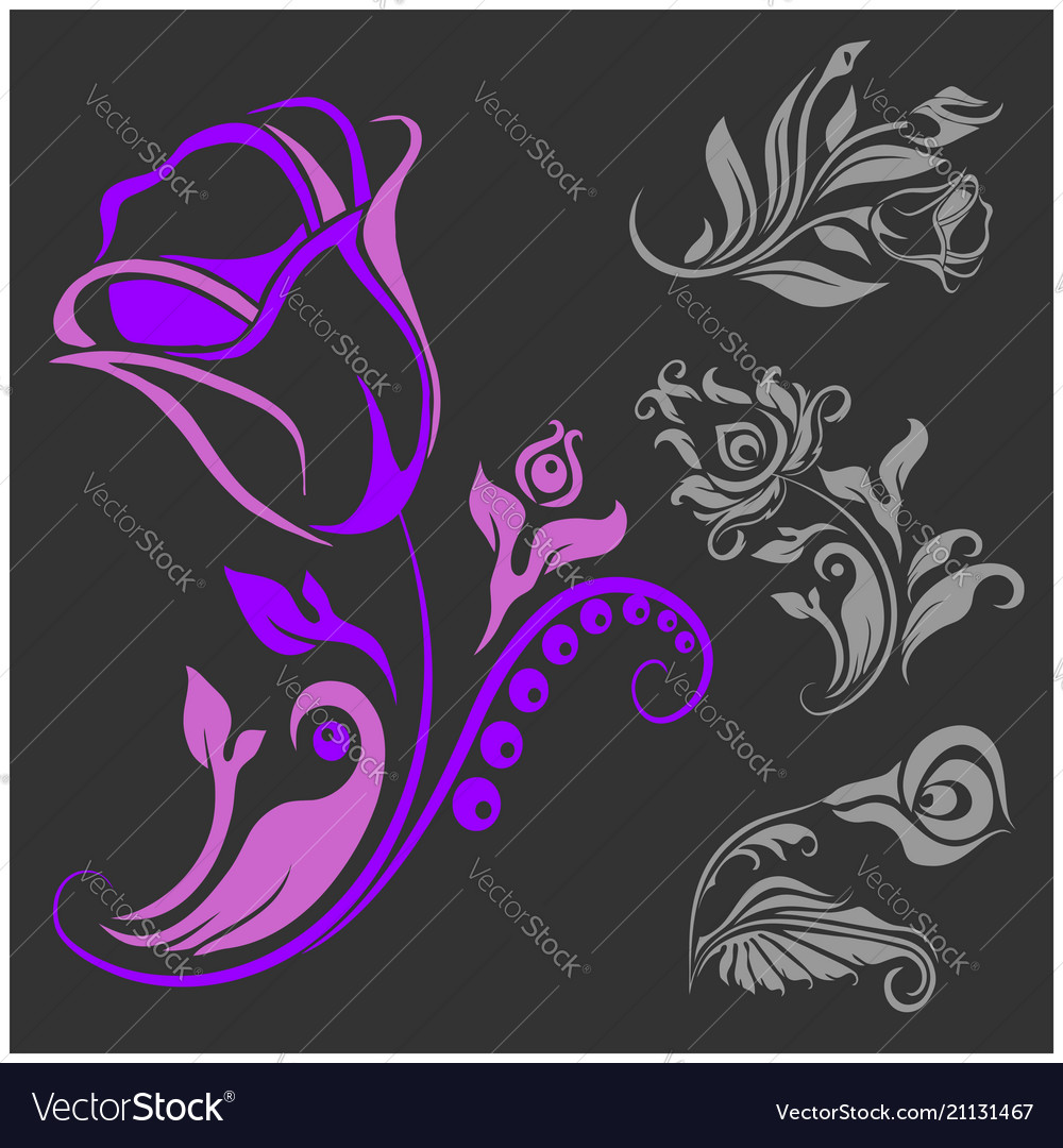 Rose motif - flower design elements