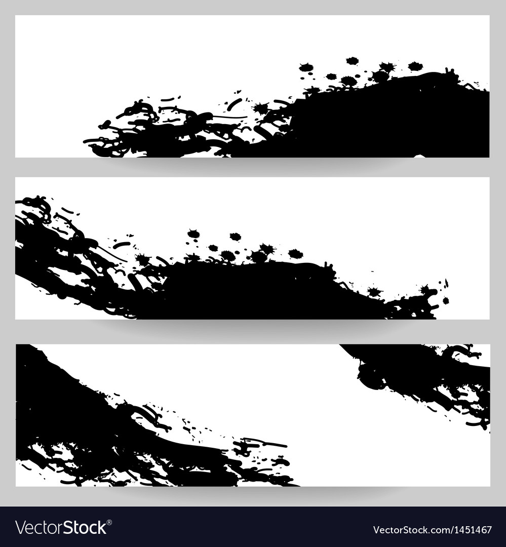 Set of banners with paint splash