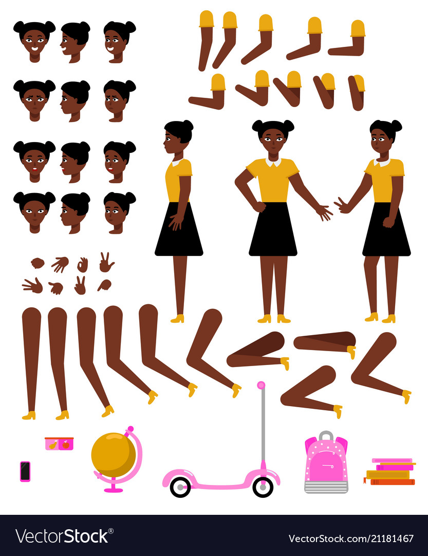 Student african girl creation kit with school