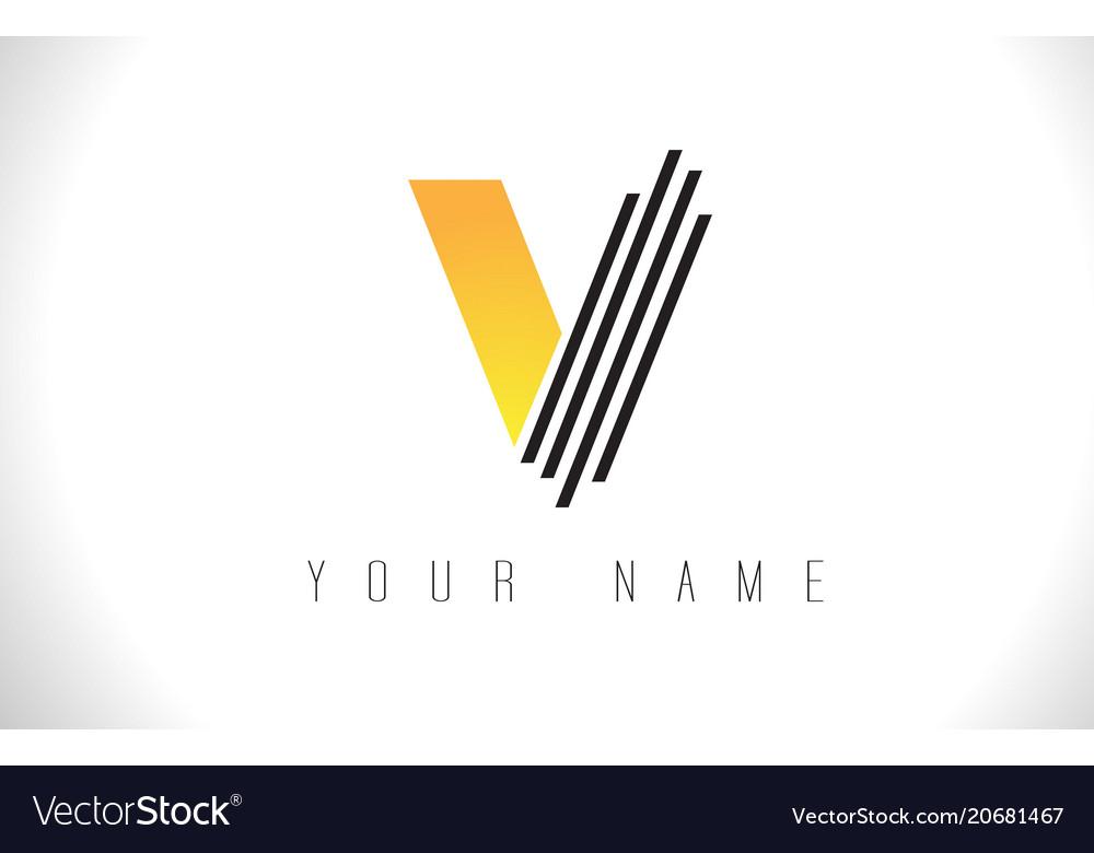V black lines letter logo creative line letters