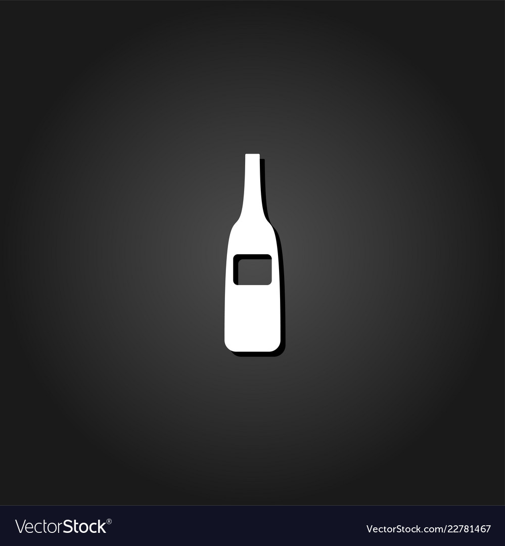 Wine bottle icon flat