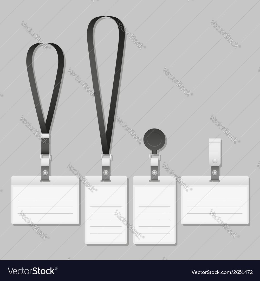 Badge Lanyard name tag holder vector image