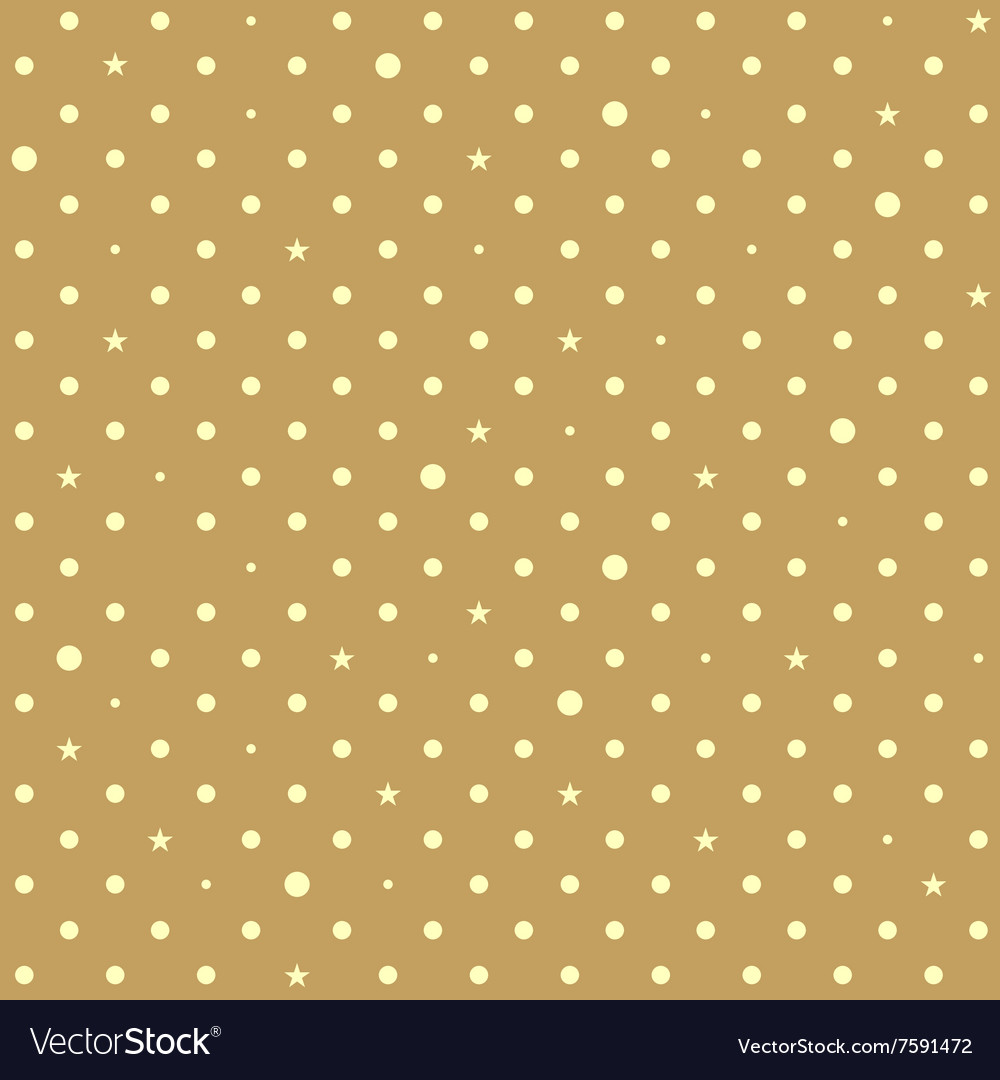 brown yellow star polka dots background vector image