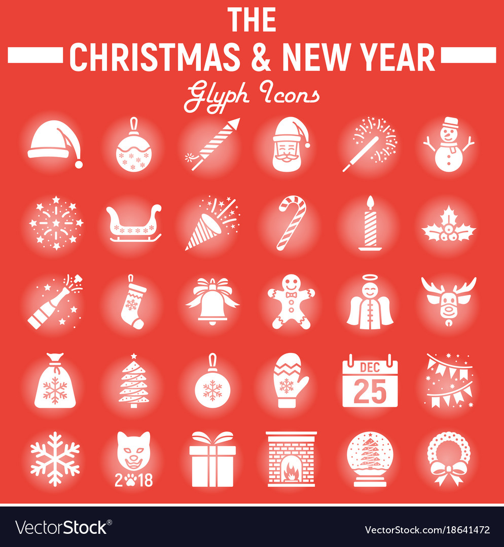 Christmas glyph icon set new year signs Royalty Free Vector