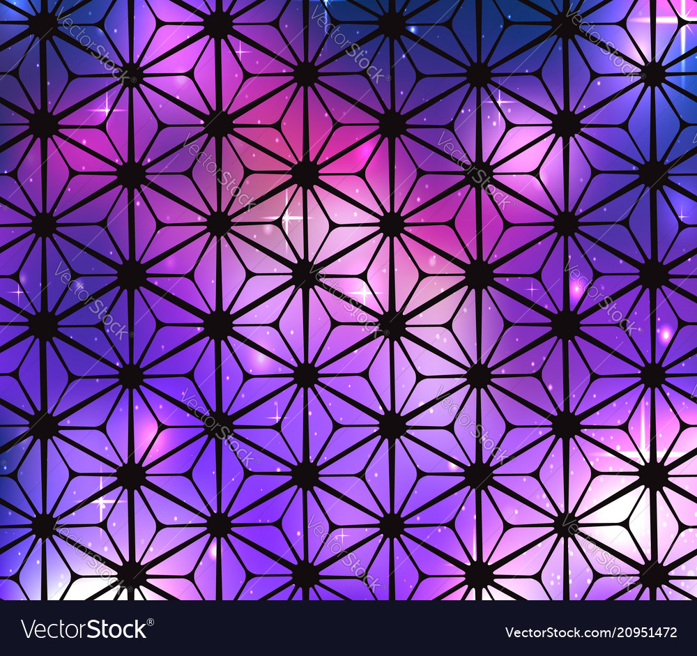 Cosmic stained glass background with flowers