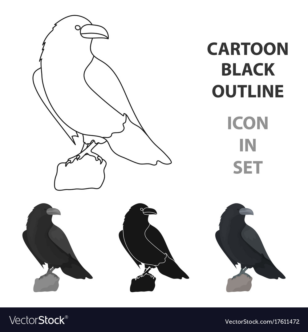 Crow of viking god icon in cartoon style isolated vector image