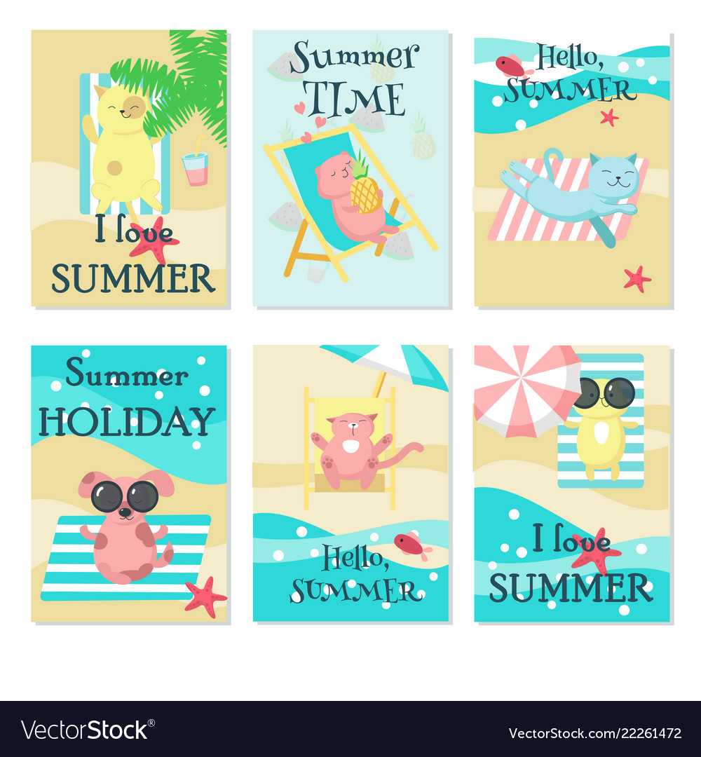 Cute animals taking rest on beach card set