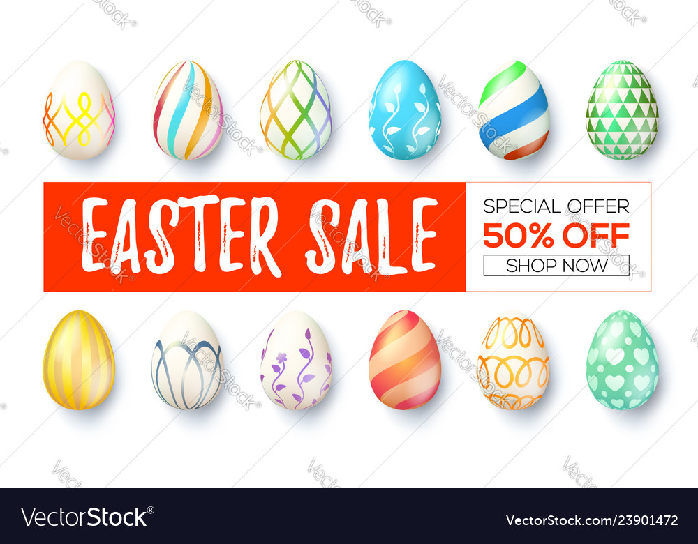 Easter sale ad banner with design handwritten