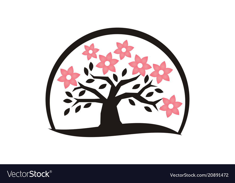 Flower and tree logo design template