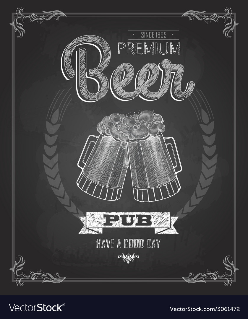 Poster with Beer in mag Chalk drawing