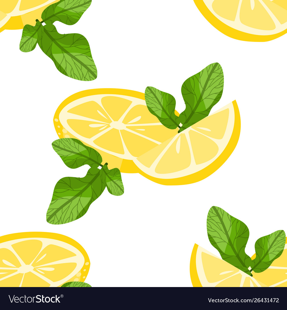 Seamless pattern with sliced lemons and mint
