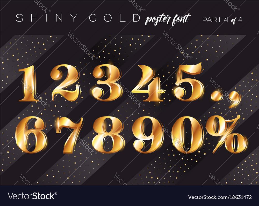 Shiny gold alphabet realistic metallic typeface