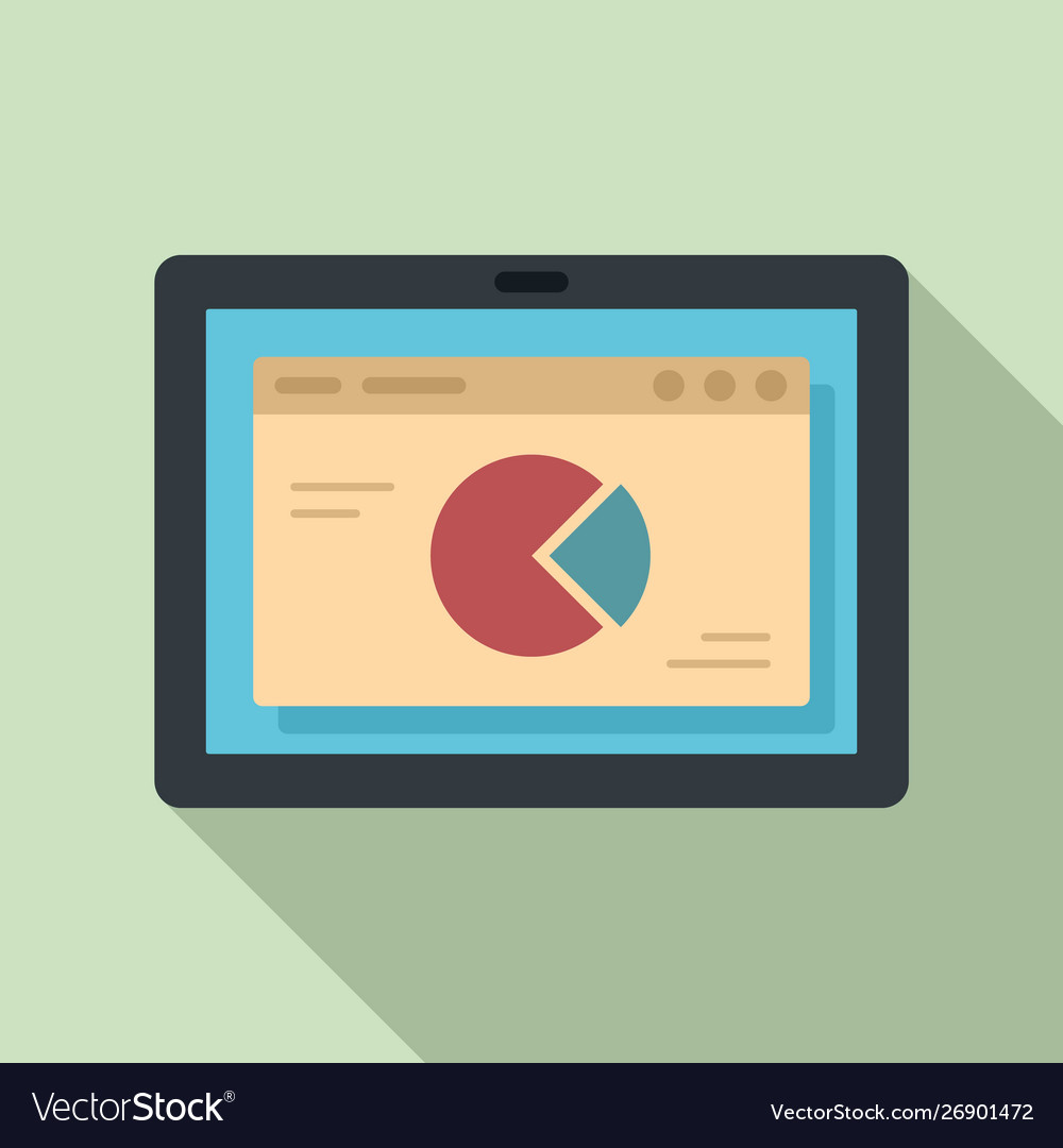 Tablet finance pie chart icon flat style