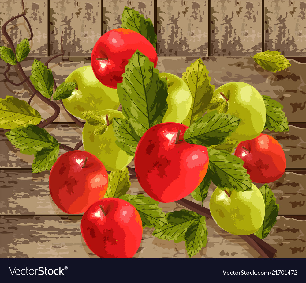 Watercolor apples on wooden background
