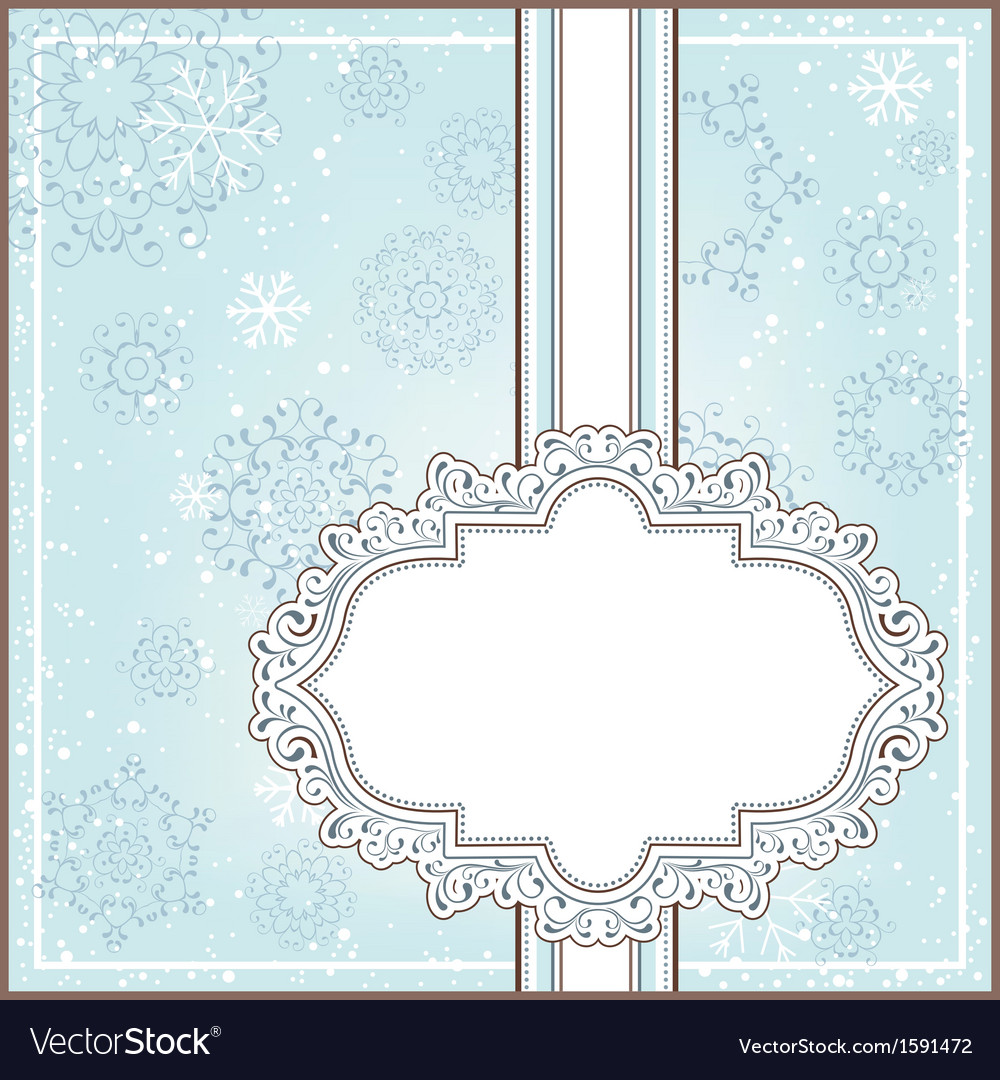Winter background with ornamental frame