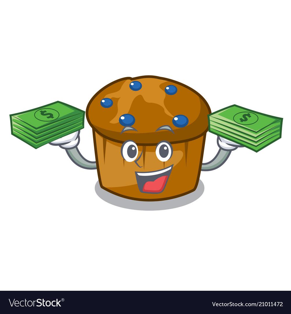 With money bag mufin blueberry mascot cartoon
