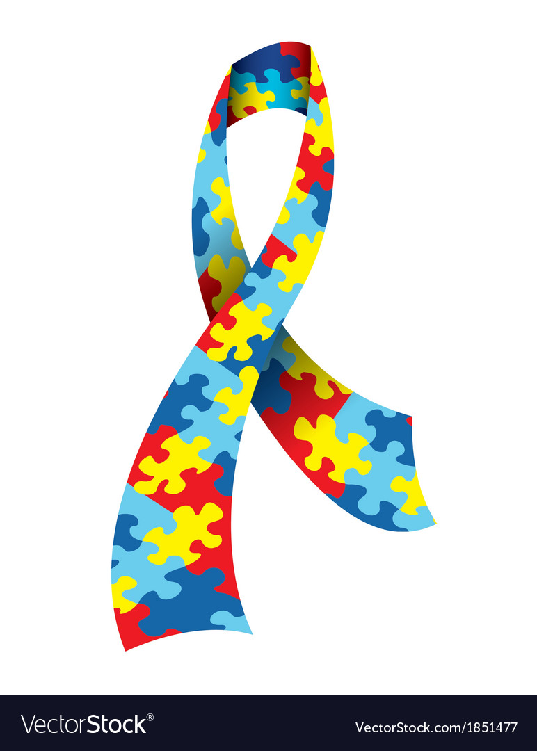 Autism Awareness Ribbon vector image
