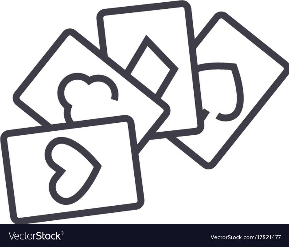 Cards gamepoker line icon sign vector image