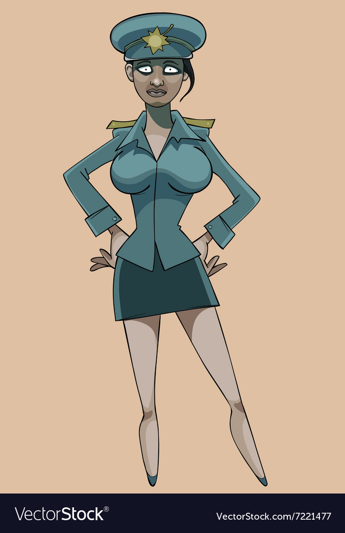 Cartoon serious woman in police uniform vector image