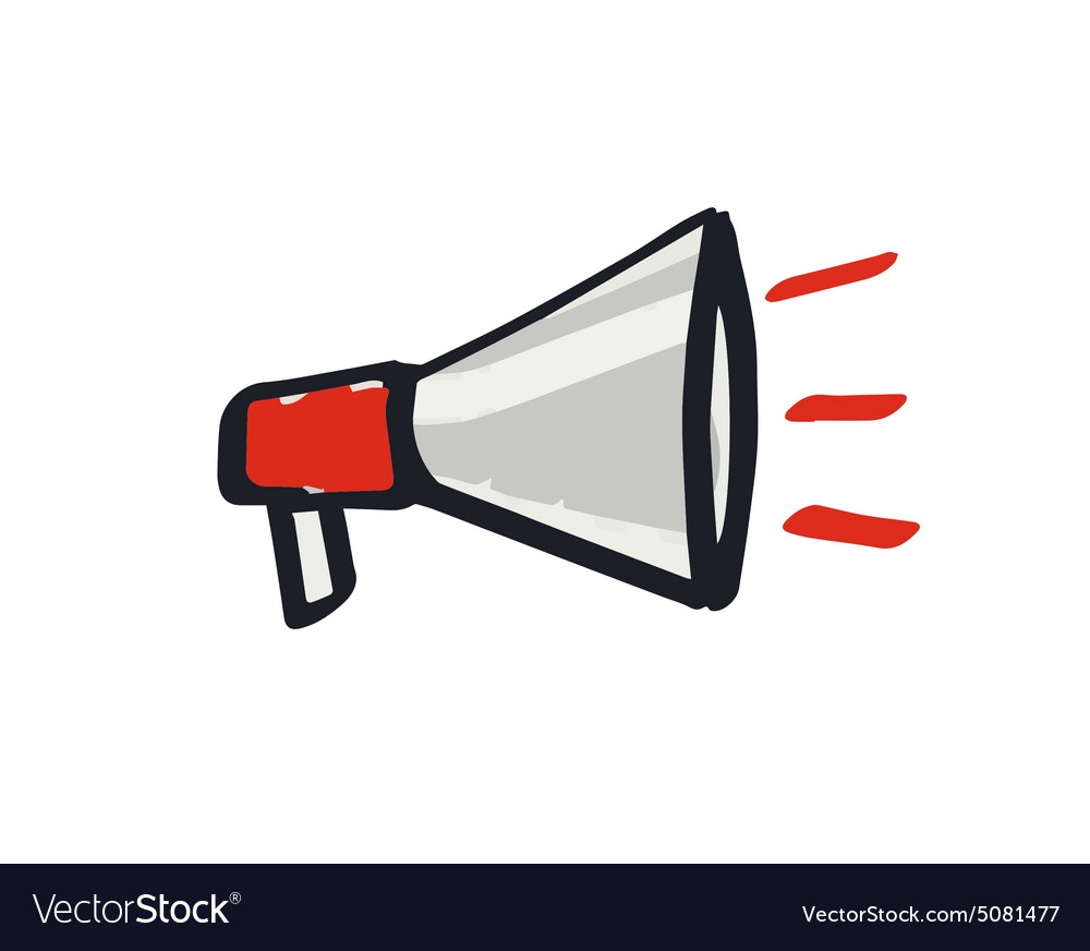 image of megaphone Hand drawn megaphone loudspeaker icon Royalty Free Vector